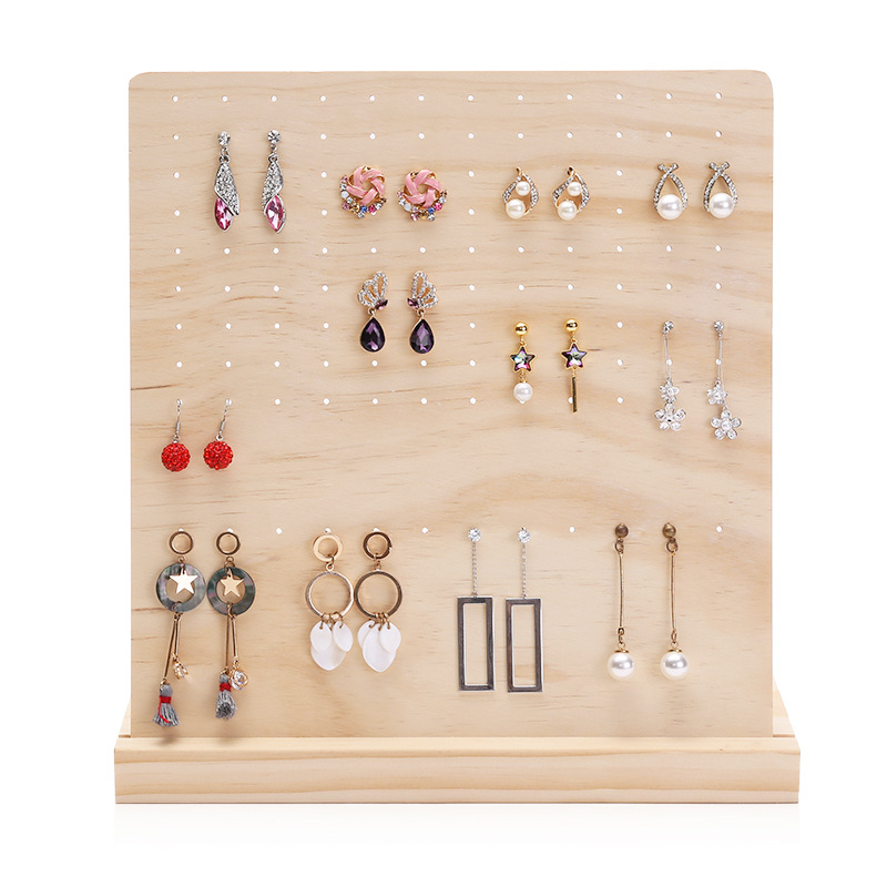 120 Slots Pin Wood Display Shelf Board  Ear Ring Jewelry Display Stand Earring Holder Jewelry Box Store Shelf