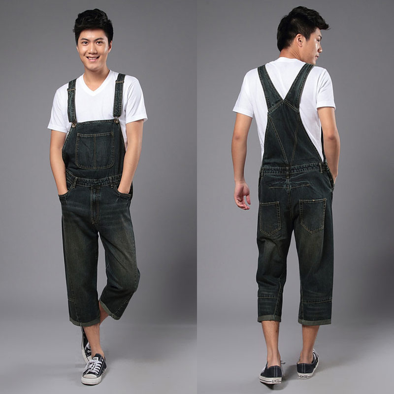 2014 New Fashion Reminisced Men vintage Trousers Casual Jeans  WASH capris pants loose plus size overalls zipper denim jumpsuit fashion casual loose denim overalls men large size 46 cargo pants male jeans jumpsuits spring vintage sexy denim trousers 062909