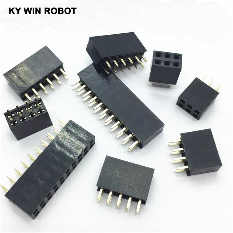 10Pcs 2.54mm 2x2/3/4/5/6/7/8/9/10/11/12/13/14/15/16/20/25/30/40 Pin Stright Female Double Row Pin Header Strip PCB Connector