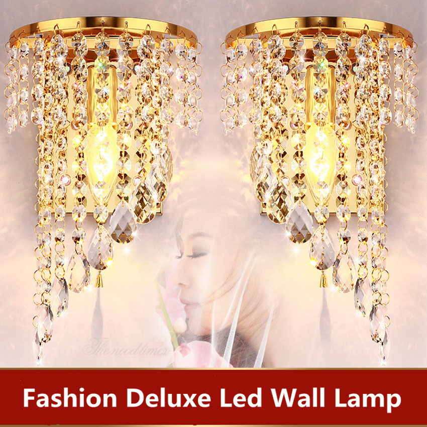 Fashion crystal wall lamp stainless steel bedside lamp left and right with switch living room background wall furniture light mds89664h steel bedside commode
