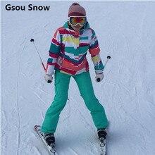 Gsou Snow outdoor winter ski jacket women snowboard jacket waterproof ski suit female thermal skiing coat snow suit