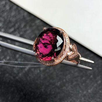 Real 18K Rose Gold Ring Tourmaline ring Natural real tourmaline 12*13.7mm gemstone 18K Ring 9.2CT 65pcs Diamond фото