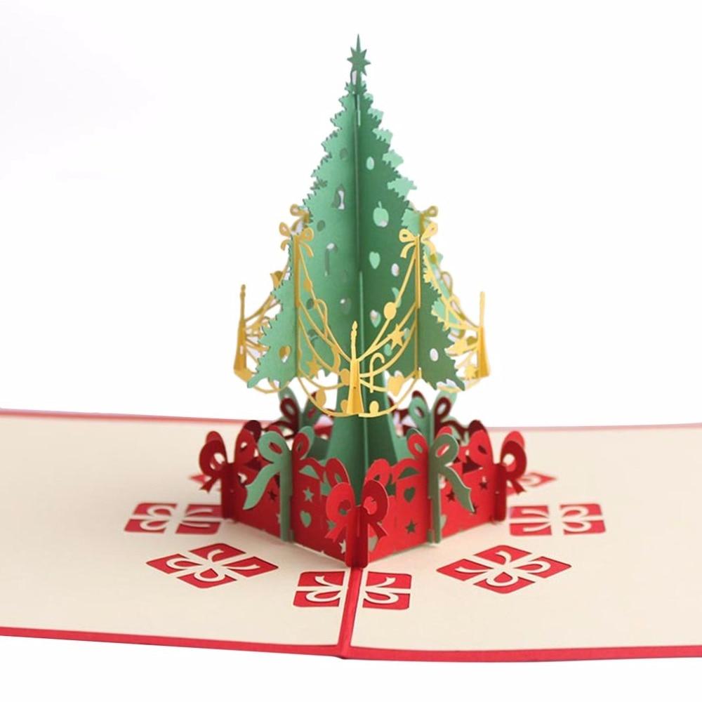 Handmade Christmas Cards 3D Pop Up Christmas Tree Merry Christmas ...
