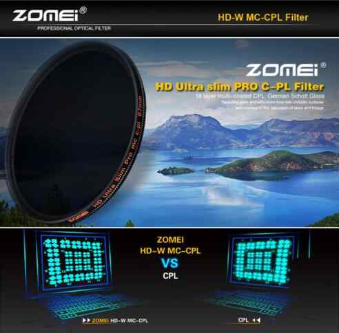 Zomei HD оптический Стекло CPL фильтр тонкий с многослойным покрытием круговой поляризатор поляризационный фильтр объектива 40.5/49/52 /55/58/62/67/72/77/82 мм