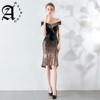New Short Sequined Sexy Cap Sleeve Mermaid Evening Dress Fade Formal Party Dresses mermaid gown Robe femme Vestidos Cerimonia