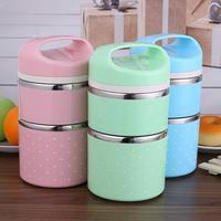 Lonchera térmica de acero inoxidable portátil doble capa desmontable contenedor de alimentos aislados niños picnic Bento Box