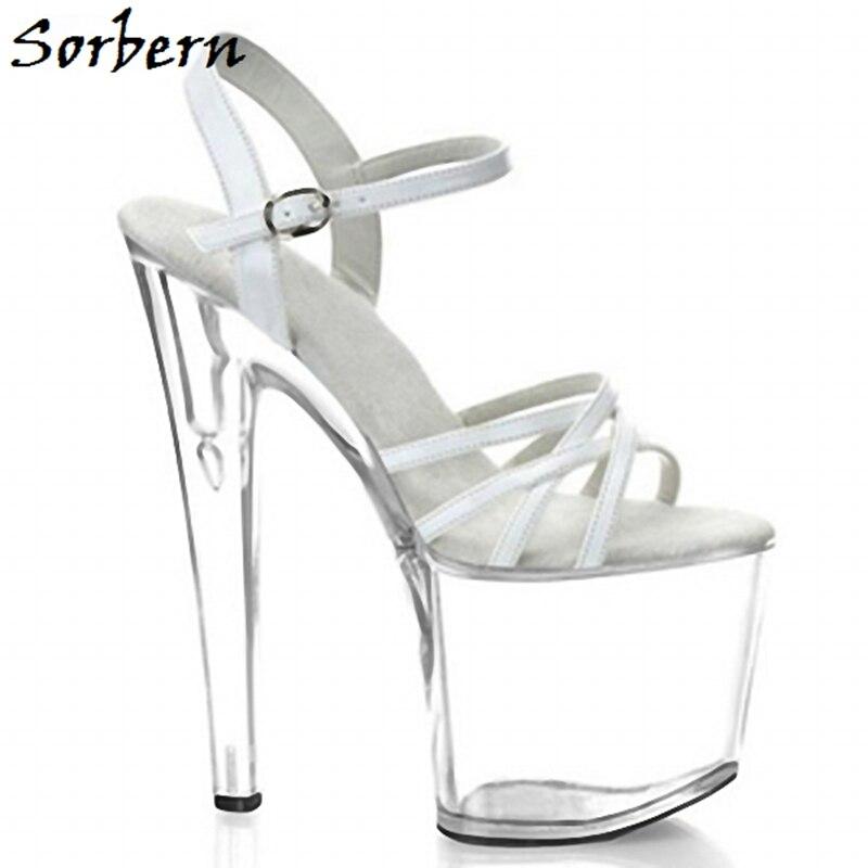 Sorbern Transparent Custom Made Sandals Designer Brand Ankle Strap Open Toe Size 10 High Heel Platform Sandals For Ladies Summer
