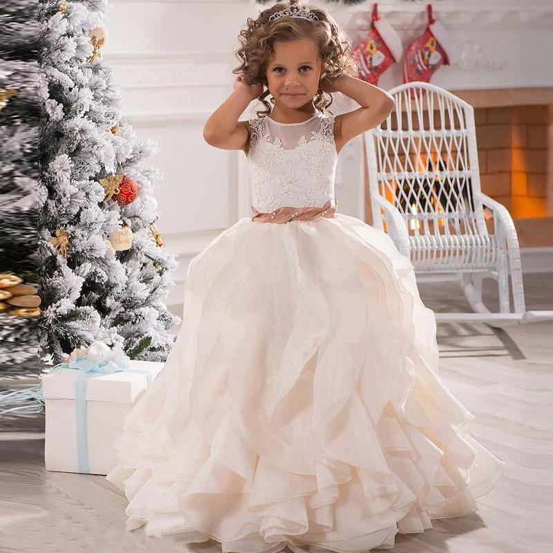 Long   Flower     Girls     Dresses   For Weddings Lovely Ball Gown Appliques Pleat Organza Party   Dress   Ivory   Girl   Pageant   Dress