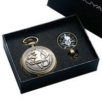 Fullmetal Alchemist YISUYA Bronze Quartzo Relógio de Bolso com Colar de Corrente Caixa de Conjuntos de Jóias Presentes Relogio De Bolso Saco