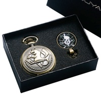 YISUYA Brons Fullmetal Alchemist Quartz Zakhorloge met Ketting Ketting Box Bag Relogio De Bolso Sieraden Geschenken Sets
