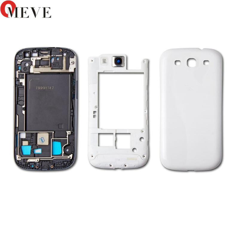 Full Housing for Samsung Galaxy S3 I9300 i9305 s3 neo 9300i 9308i Front Frame+Middle Frame+Battery Cover door Repair Parts