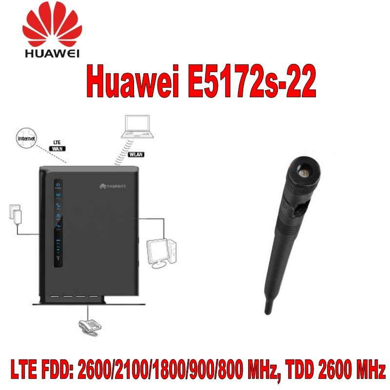 HUAWEI E5172s-22 LTE FDD 800/900/1800/2100/2600 & TDD 2600MHZ UNLOCKED IN BOX with antenna unlocked huawei e5172s 515 lte router tdd 2300 2600mhz band including 1000mah battery