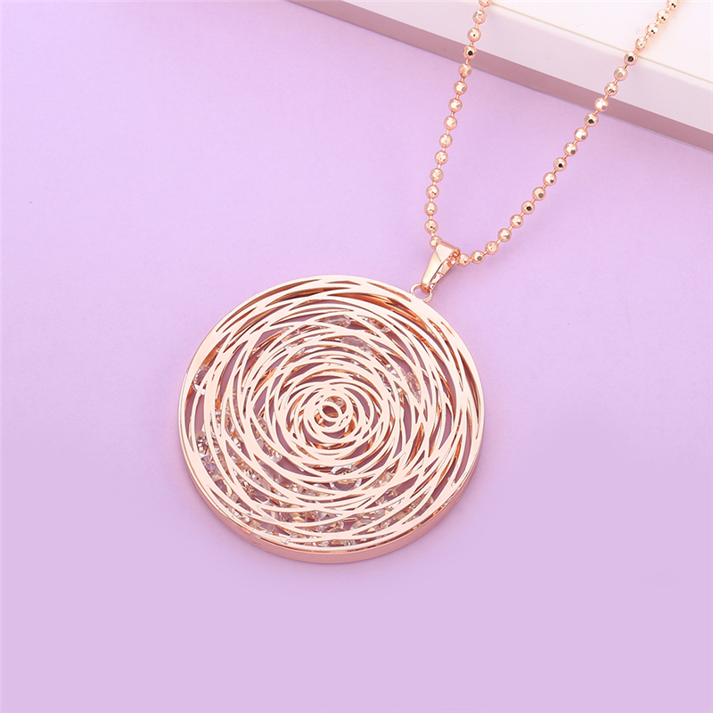 Rose Gold Hollow Flower Pendant Necklace Sweater Long Sweater Jewelry Geometric