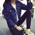 Новое прибытие женщин мода синий джинсовая куртка пальто весна осень случайные джинсовые куртки бесплатная доставка