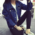 Chegada nova moda feminina azul denim casaco jaqueta jeans jaqueta casual primavera outono frete grátis