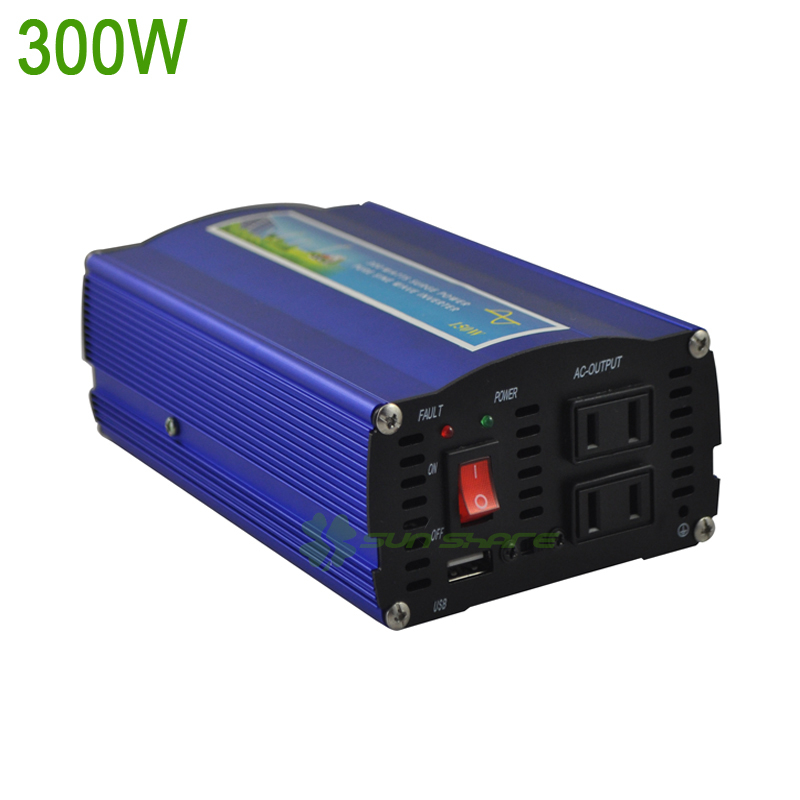 Free Shipping 300w pure sine wave inverter/converter for wind solar system DC12V /DC24V input ,AC110V/AC220V output solar power on grid tie mini 300w inverter with mppt funciton dc 10 8 30v input to ac output no extra shipping fee