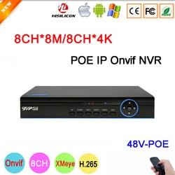 Blue Panel Hi3536C Xmeye 8CH * 4 K/8CH * 8M 8MP/5MP/4MP/3MP /2MP/1MP 8CH 8 Kanaals H.265 48V POE Onvif IP Camera CCTV NVR FreeShipping