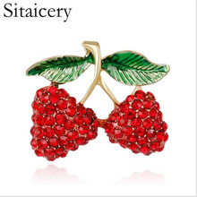 Sitaicery Fruit Cherry Brooch Heart Shape Red Color Enamel Corsages Pins Suit Coat Scarf Accessories Christmas Jewelry Gift