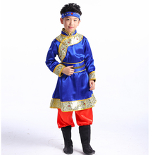 New childrens dance costume Mongolian ethnic Tibetan clothing girls skirt Chinese minority stage performance
