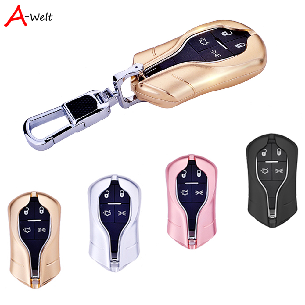 high quality Aluminum Alloy Car Key shell Case Cover With Keychain For Maserati Quattroporte Ghibli Levante car-styling accessor