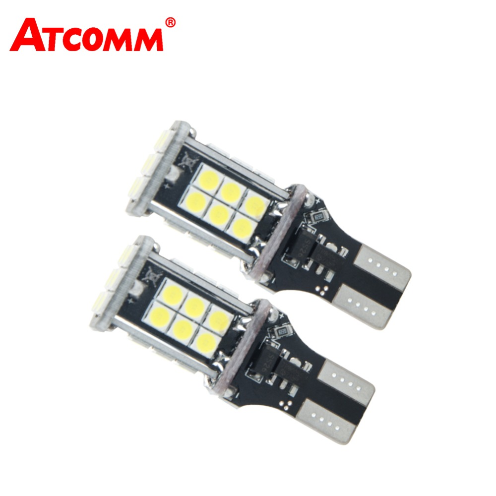 ATcomm 2 Pcs T15/W16W/912/921 LED Car Light 3030 24 SMD LED White Auto Reverse Lamp Car Interior Light Pilot Bulb Car styling