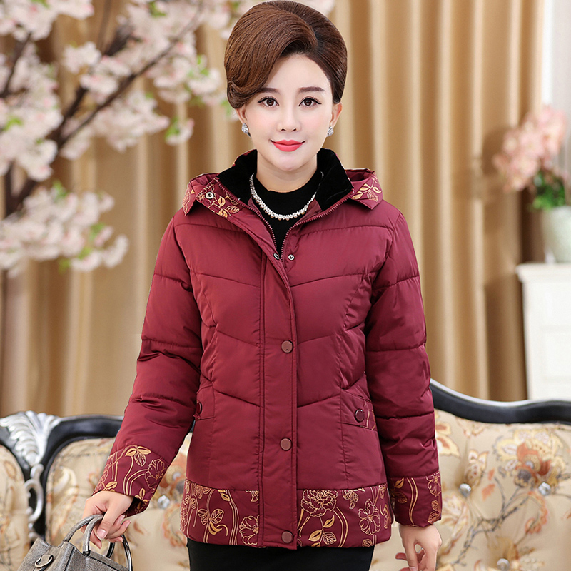 2017 In the elderly women 's Spring and winter Zhuangao jacket coat mother loaded winter thickening down jacket in the elderly cotton down jacket women s winter coat thickening plus cashmere