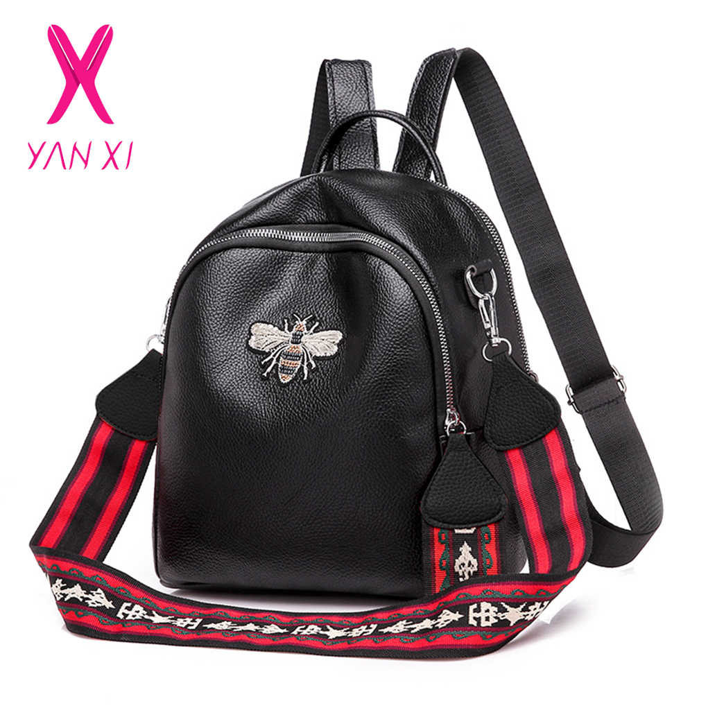 6dfdc03133d3 YANXI New Small Bee Pu Leather Girls Small Cute Travel Backpack Women  Backpacks 2018 Sac A