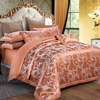 UNIKEA Luxury 100% cotton Flowers color 4pcs Bedding Set Satin Jacquard embroider Duvet cover Bed sheet Pillowcase King Queen si