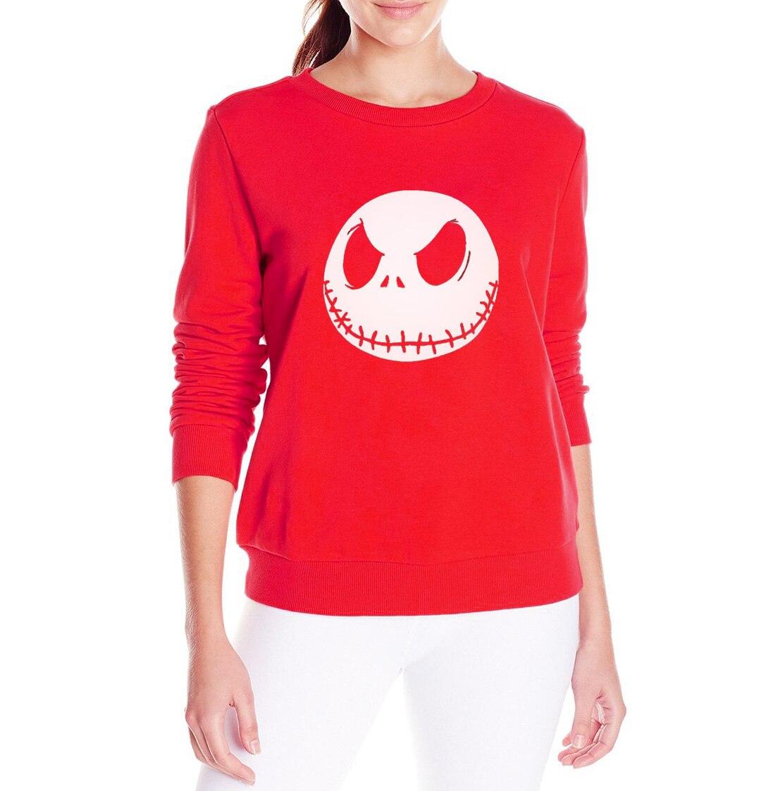 Jack Skellington print women funny sweatshirt loose-fitting hoodies cotton pullovers long sleeve fashion tracksuit for ladies