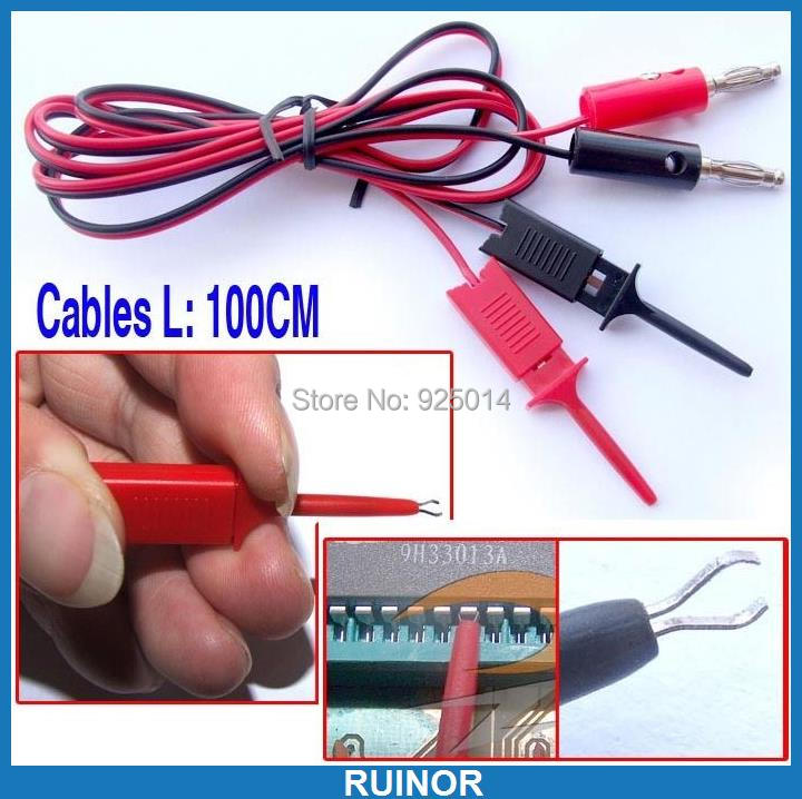1 set 4MM banana plug to Test Hook Clip Cable IC SMT SMD Test Probes 1pcs yt191 high voltage 4 mm banana plug test lead cable wire 100 cm for multimeter the probes gun type banana plugs