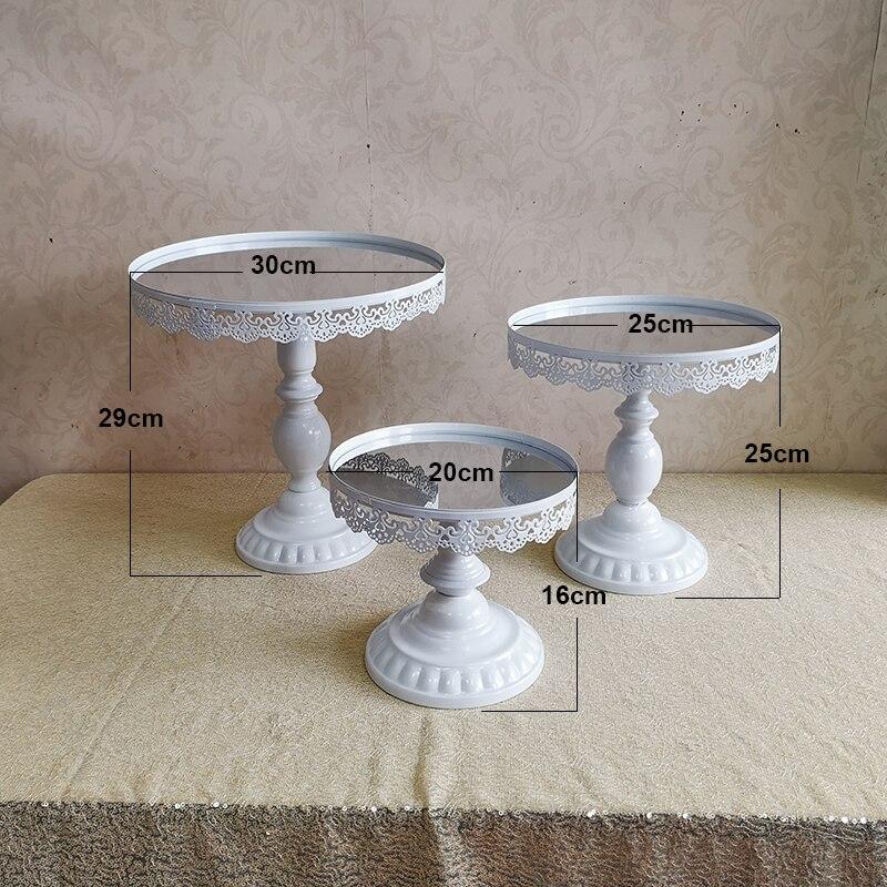Wit & roze & gouden & zilveren Cake Stand, Ronde Metalen Bruiloft Verjaardag Dessert Cupcake Voetstuk Display-in Standaarden van Huis & Tuin op  Groep 1