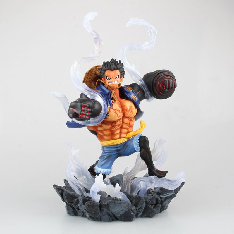Anime One Piece Luffy Gear 4 With Aura PVC Action Figure Collectible Model Kids Toys Doll 26cm 2017 men s black baggy jeans hip hop designer brand skateboard pants loose style plus size 30 46 hiphop rap jeans