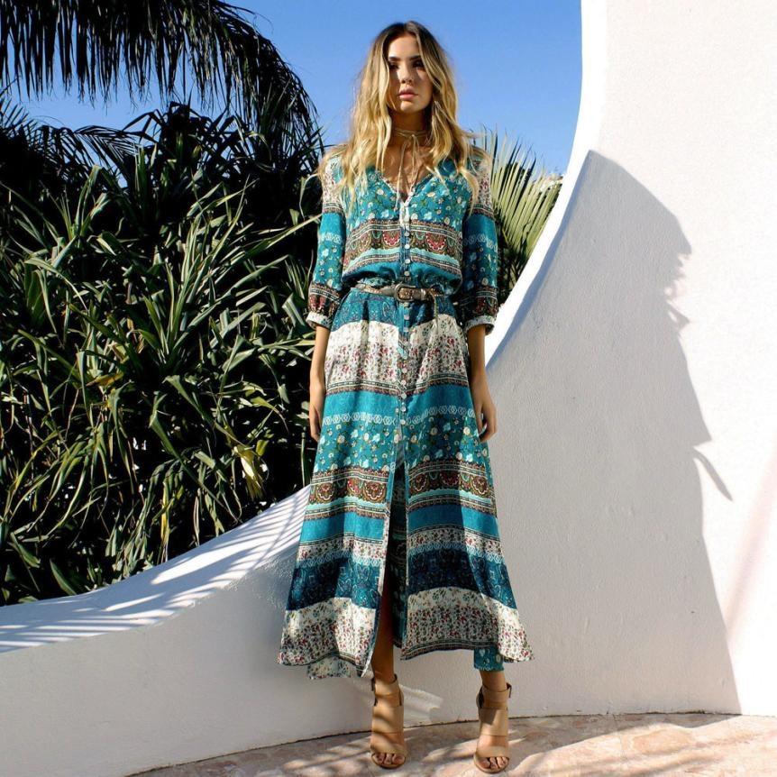 Bohemian Kleid Gedruckt Retro Stil Halbe Hülse Floral Strand Maxi Kleid Frauen Sommerkleid Partei Tragen Kleidung Vestidos Longos #0881
