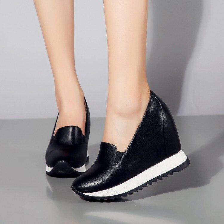 Casuales Genuino De Altura Zapatillas Botas blanco Las Deporte Mujeres Cuero Tobillo Zapatos Negro Aumento Cuñas {zorssar} Mujer 6Uzwn