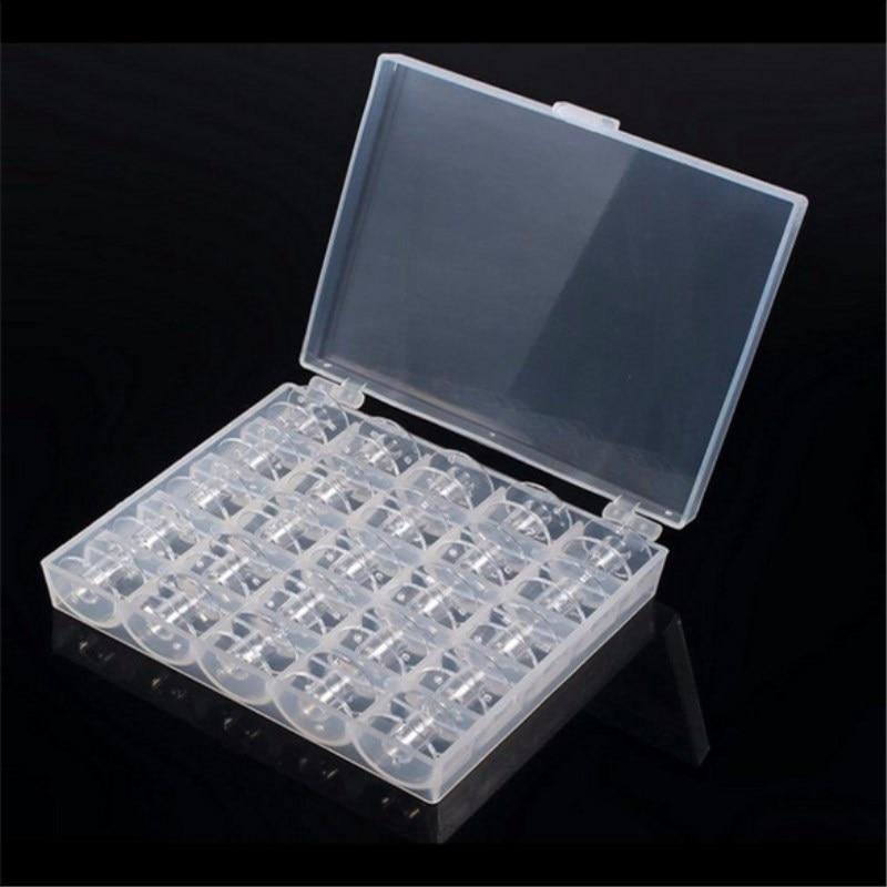 25 шт. пустые катушки для швейных машин, прозрачный пластик с Чехол, коробка для хранения для Brother Janome Singer Elna 5BB5310