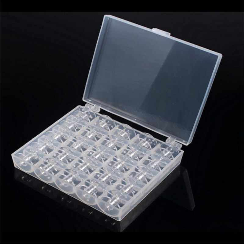 25Pcs Empty Bobbins Sewing Machine Spools Clear Plastic with Case Storage Box for Brother Janome Singer Elna 5BB5310