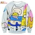 Alisister Harajuku Style Women/men Adventure Time Sweatshirt Print Funny Cartoon Biscuit 3D Hoodies Pullovers Kawaii Clothes