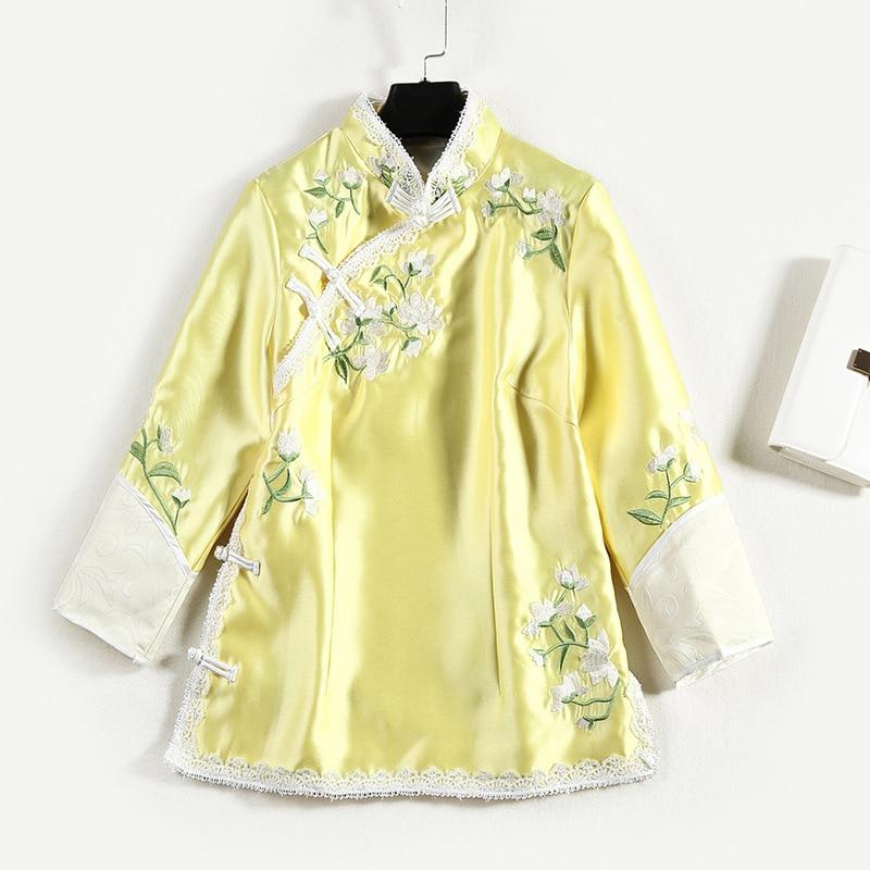 Nouveau Fleur D'hiver Lâche Court Veste Vintage Xl Style 2018 Rétro Broderie Sergé Chinois Manteau Printemps Vêtements Femmes Automne Rose jaune qT0STtw1