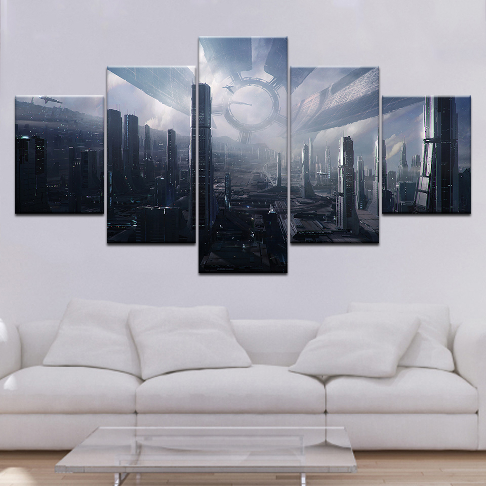 Citadel Mass Effect 5 piece Wallpapers modern Modular Poster art Canvas painting for Living Room Home Decor(China)