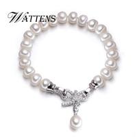 WATTENS Nieuwe accessoires charmes zilveren armband zoetwater 8-9mm natura parels armbanden voor vrouwen, Parel sieraden voor liefde gift
