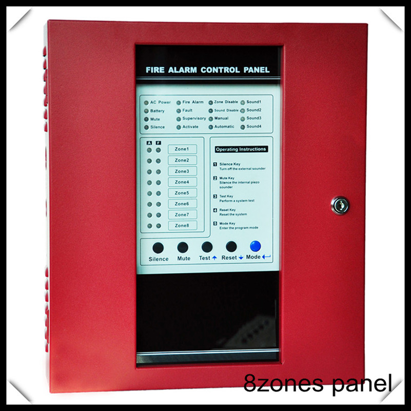red 8 zones Fire Alarm Control Panel with 8Zones work with any 2wire smoke detectors fire alarm system цена и фото