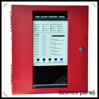red 8 zones Fire Alarm Control Panel with 8Zones work with any 2wire smoke detectors fire alarm system
