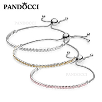 PANDOCCI Original Charms Bracelet Rope 925 Silver Tennis Bracelet Pink Zircon Ladies Simple Fresh Match World Jewelry PAN 1:1