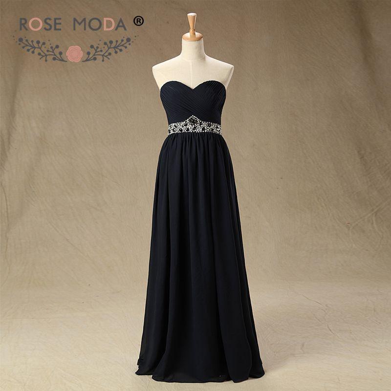 Rose Moda Black   Evening     Dress   Crystal Long   Evening     Dresses   Formal Party   Dress   for Xmas 2019