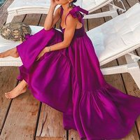 Elegant Sexy Spaghetti Dresses Women Purple Boho Party Summer Beach Lace Up A Line Robe Vintage Pleated Holiday Maxi Dress