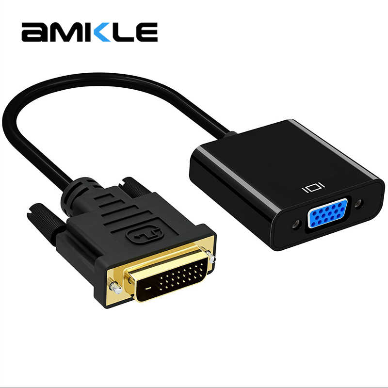 Amkle 1080P DVI-D naar VGA Adapter Kabel DVI 24 + 1 25 Pin DVI Male naar VGA Female Video converter Adapter voor TV PS3 PS4 PC Display