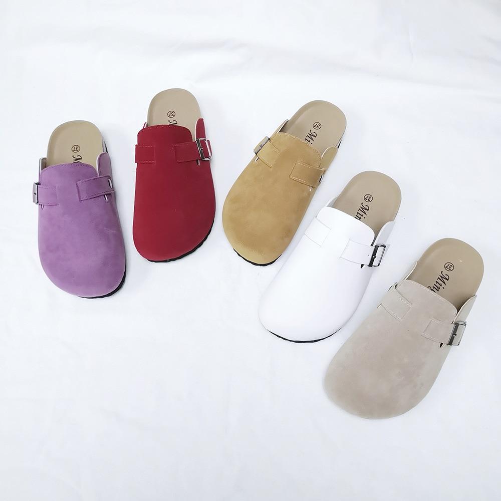 KINE PANDA Couple Slippers Woman Man Adult Cork Sandals Women Casual Beach Gladiator Flat Shoes Buckle