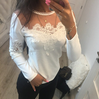 White Patchwork Office Ladies Work Woman Blouse Round Neck Long Sleeve Lace Mesh Hollow Out New