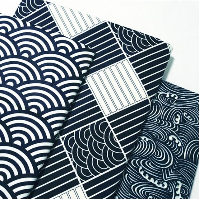 Gracefu 50x160cm 3 Japan Classic Kimono Designs Wave Fan Square