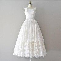Vintage Tea Length Lace Ivory Beach Wedding Dresses 50s Sleeveless Beach Bridal Dress